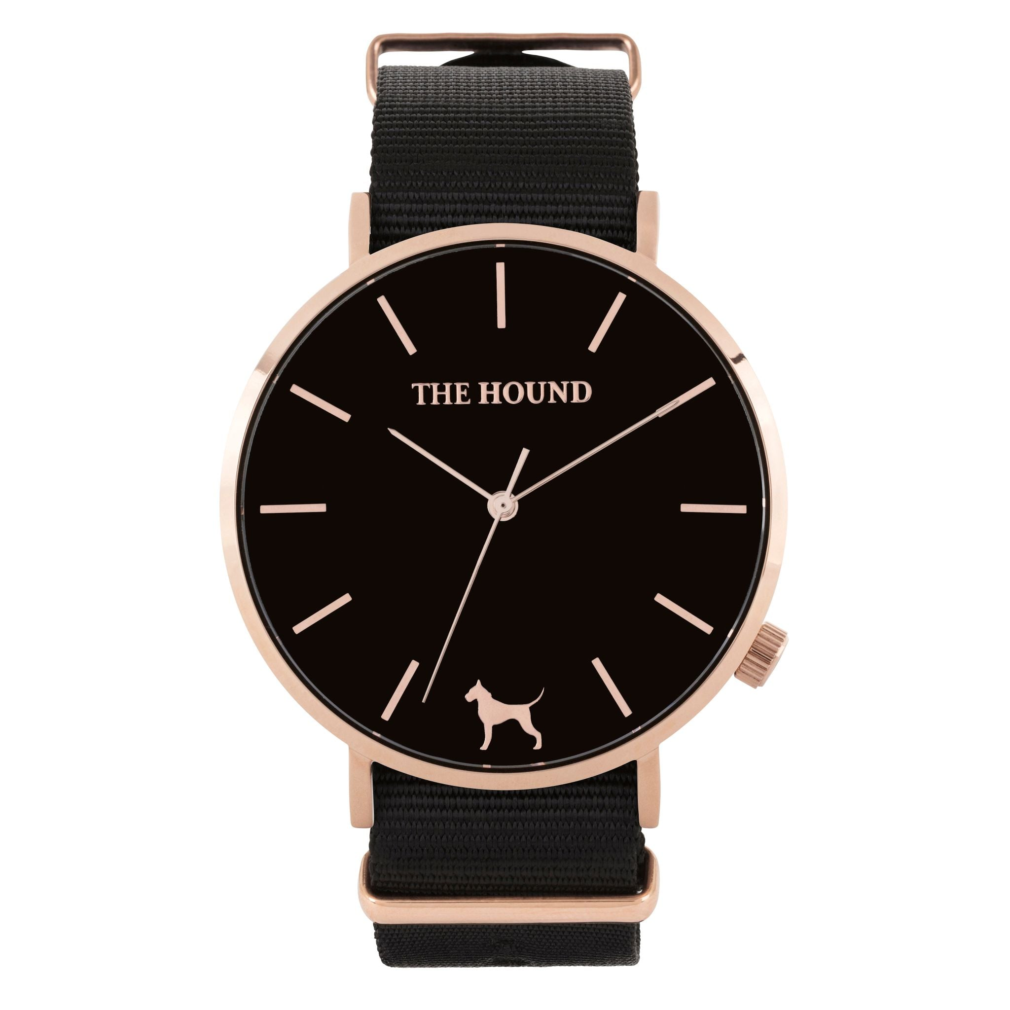 Rose gold & black face watch with black nato