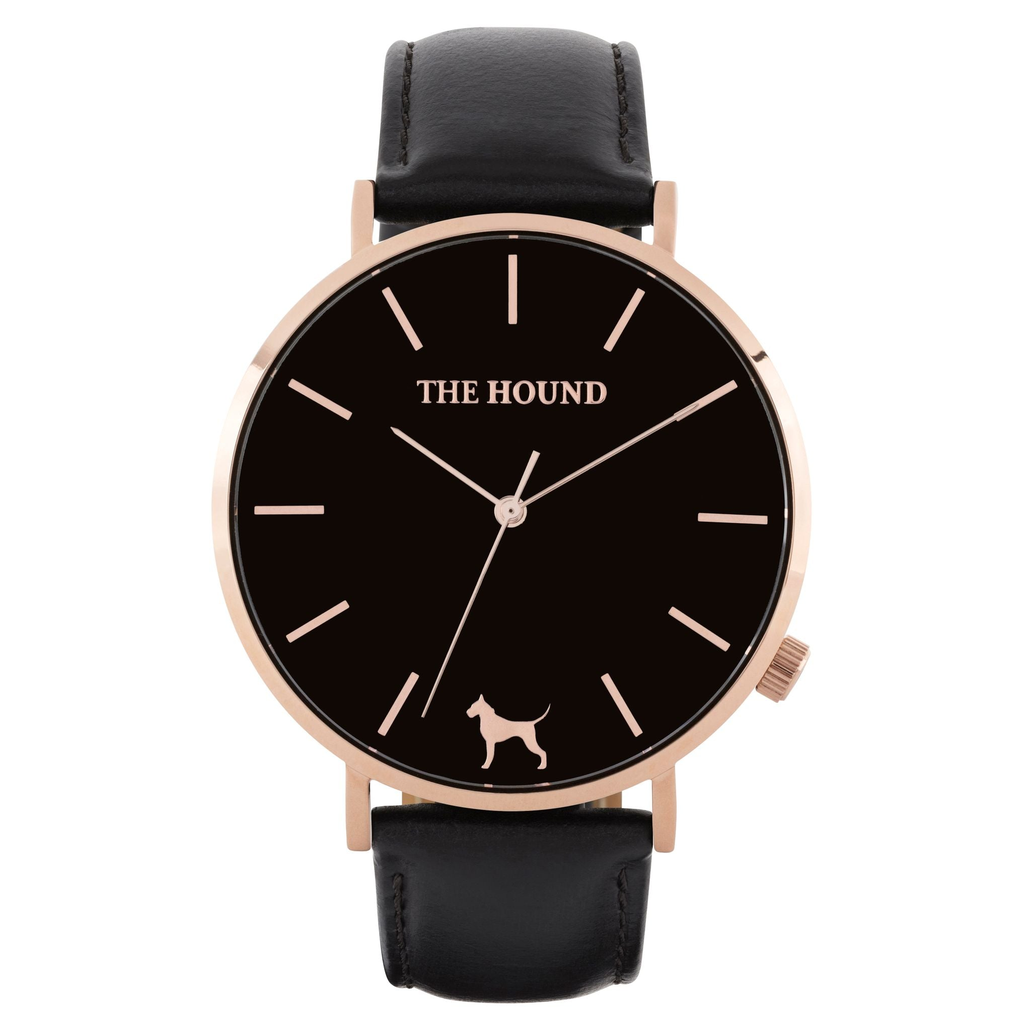 Rose gold & black face watch with black leather