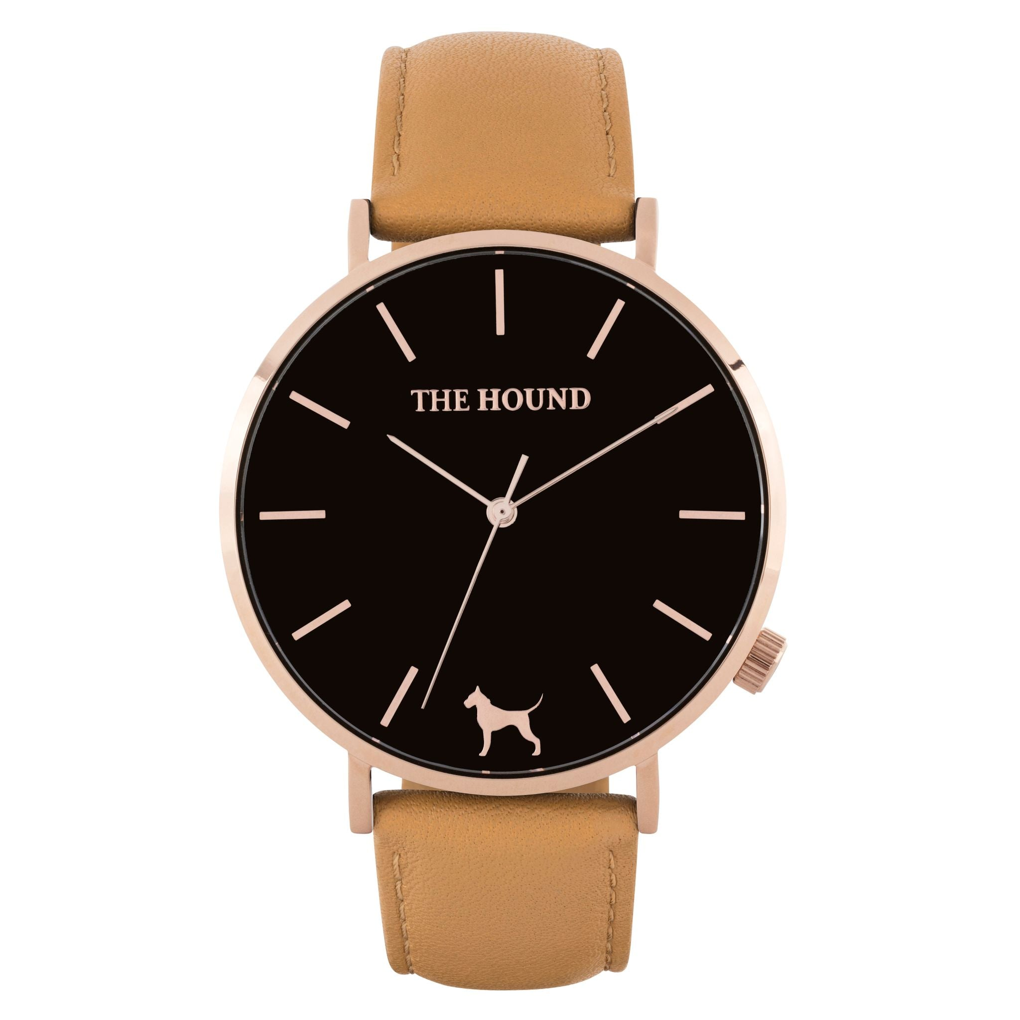 Rose gold & black face watch with camel leather