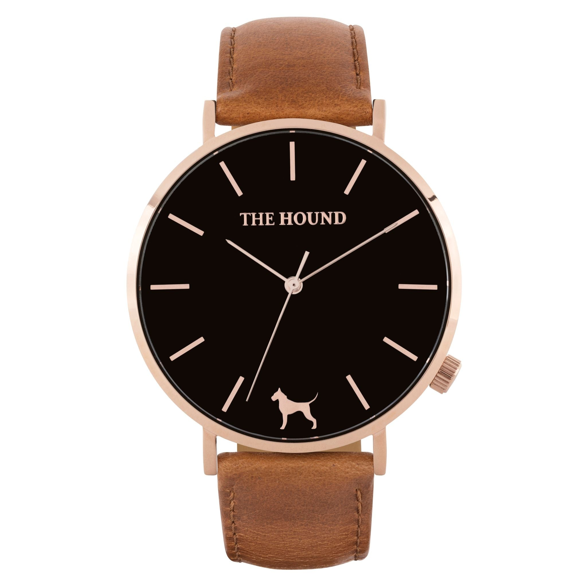 Rose gold & black face watch with tan leather