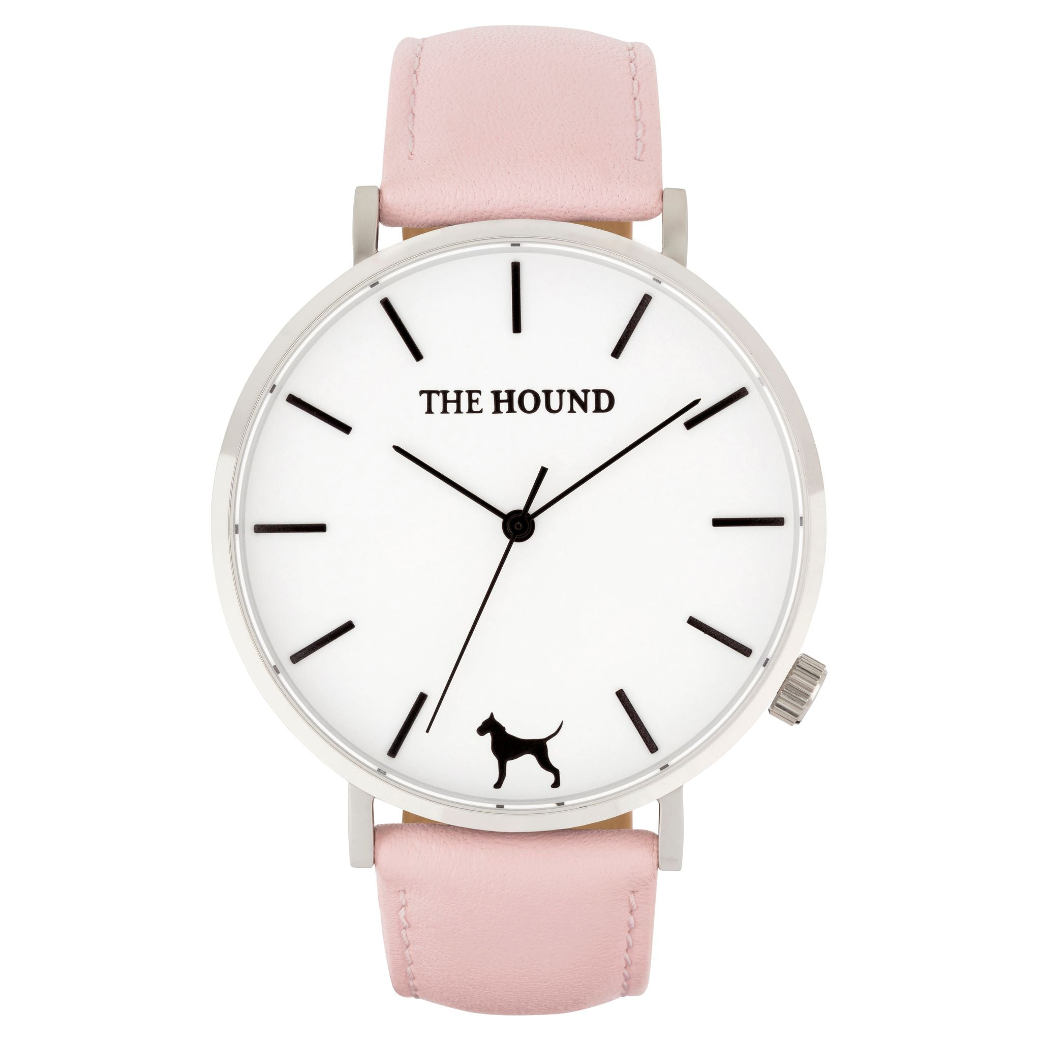 Silver & white face watch with blush pink leather