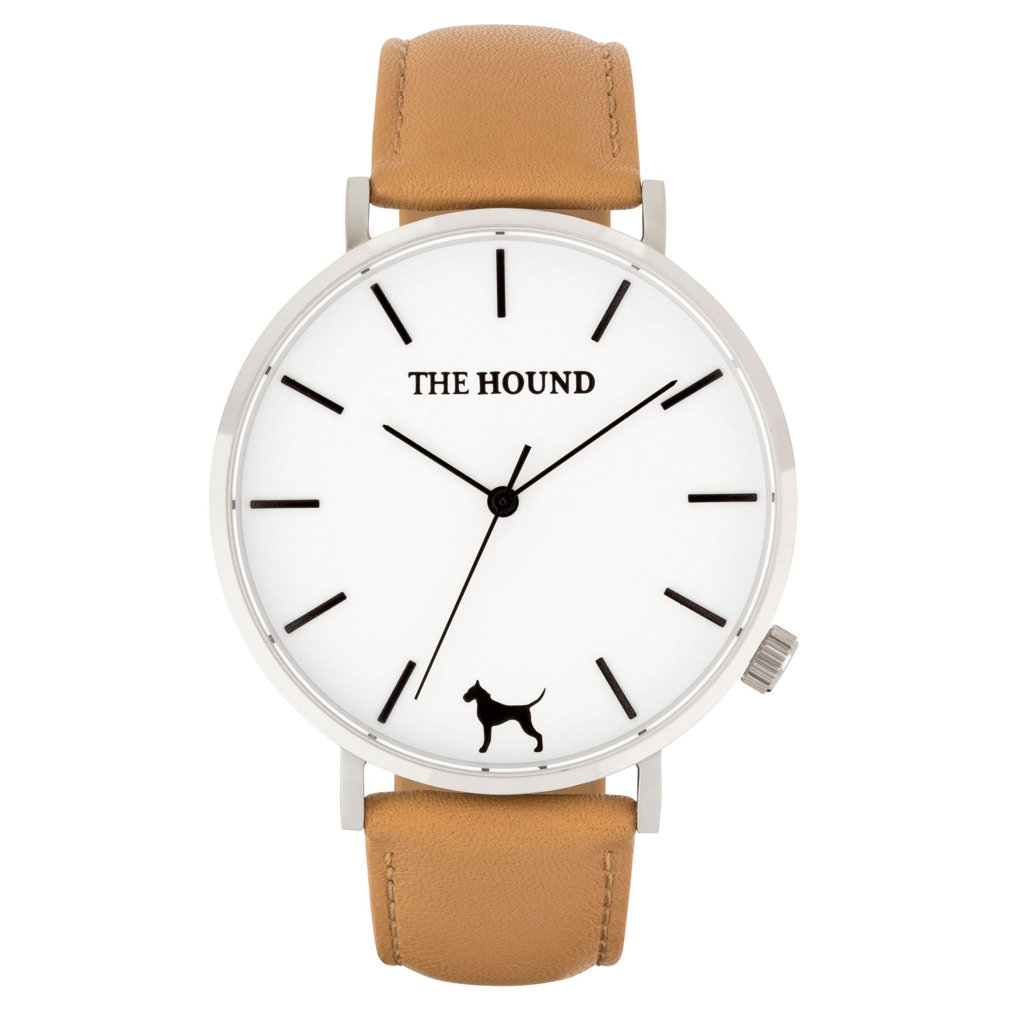 Silver & white face watch with camel leather