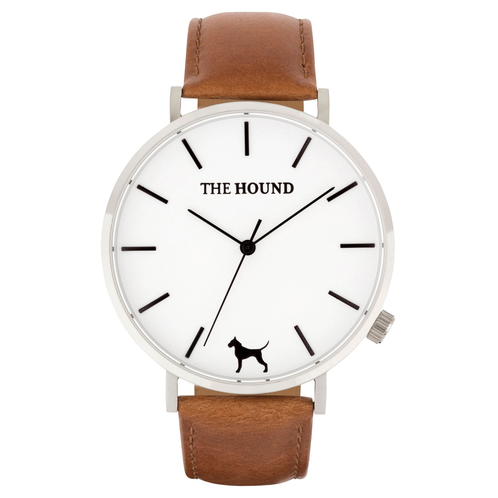 Silver & white face watch with tan leather