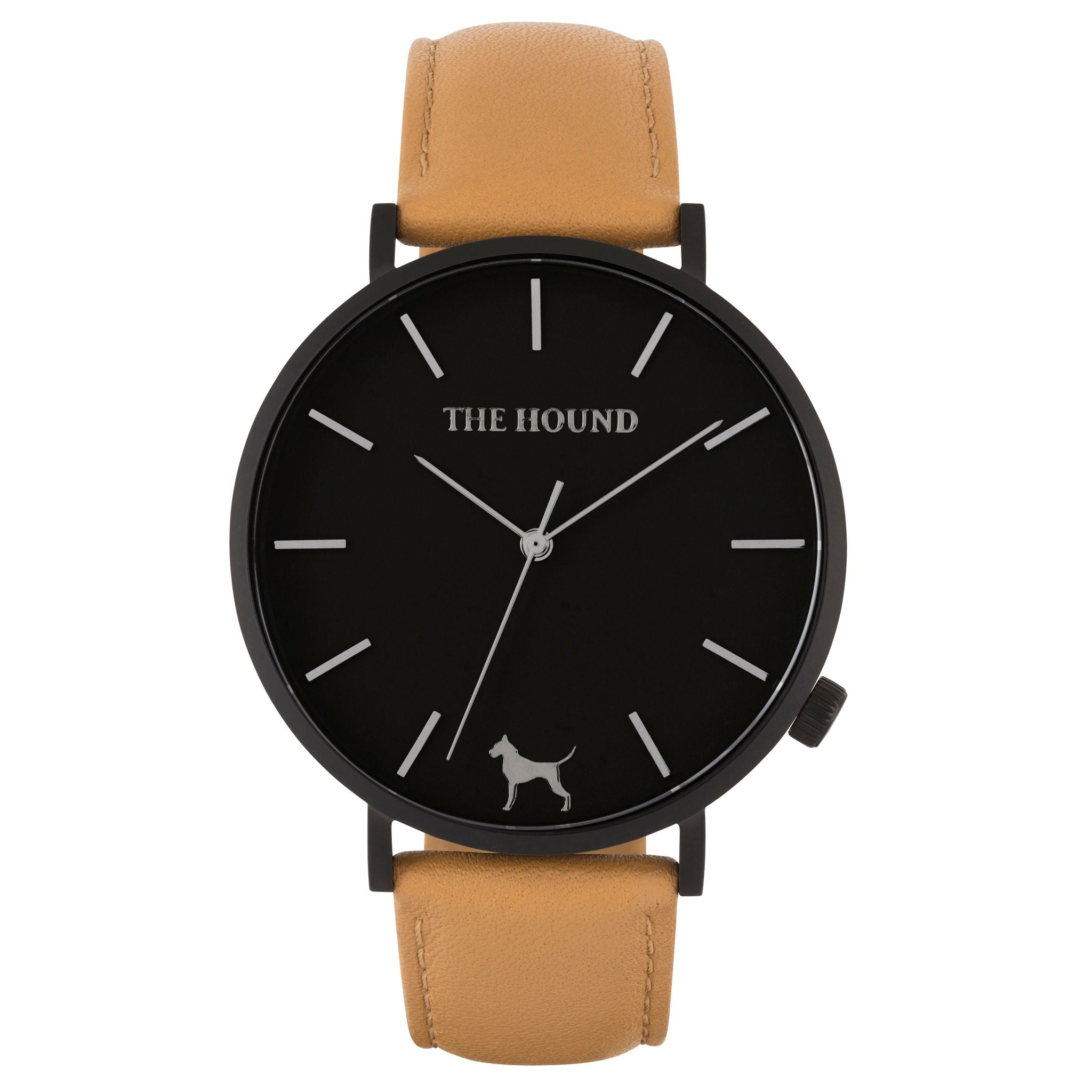 Matte black & black face watch with camel leather