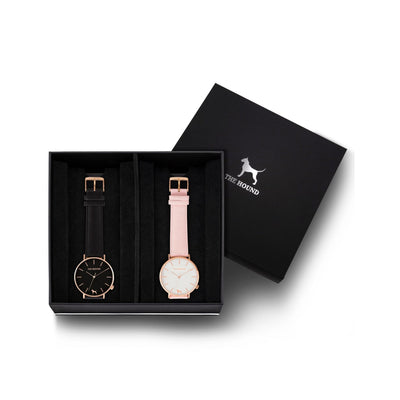 Custom gift set - Rose gold and black watch with stitched black genuine leather band and a rose gold and white watch with stitched blush pink genuine leather band