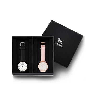 Custom gift set - Silver and white watch with stitched black genuine leather band and a rose gold and white watch with stitched blush pink genuine leather band