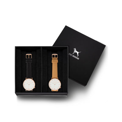Custom gift set - Rose gold and white watch with stitched black genuine leather band and a rose gold and white watch with stitched camel genuine leather band