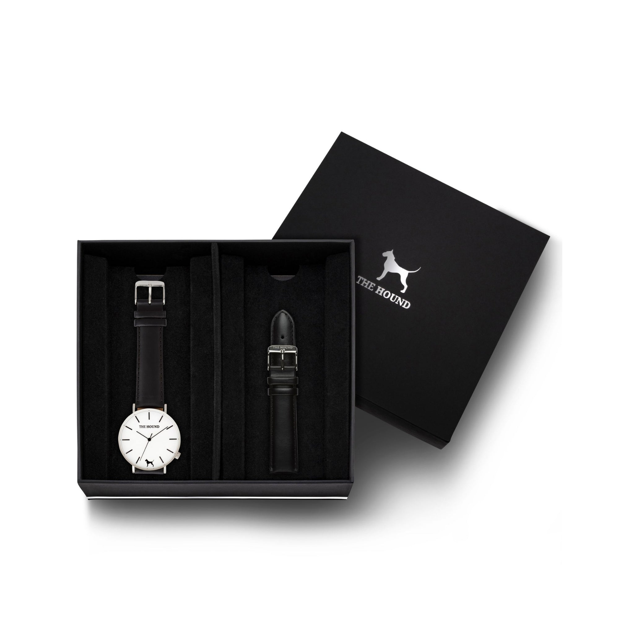 Silver & White Watch<br>+ Black Leather Band<br>+ Black Leather Band