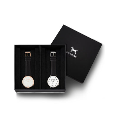 Custom gift set - Rose gold and white watch with stitched black genuine leather band and a silver and white watch with stitched black genuine leather band