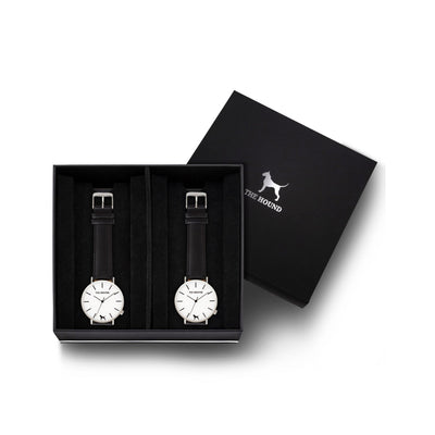 Custom gift set - Silver and white watch with stitched black genuine leather band and a silver and white watch with stitched black genuine leather band