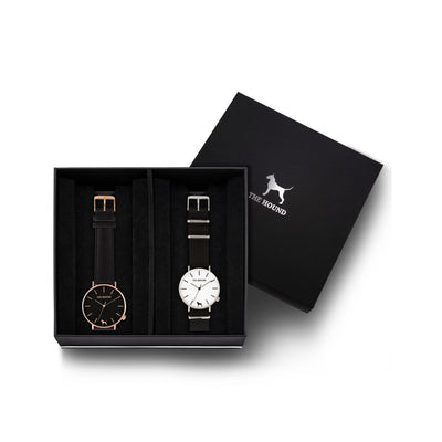 Custom gift set - Rose gold and black watch with stitched black genuine leather band and a silver and white watch with black nato leather band