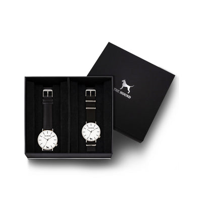 Custom gift set - Silver and white watch with stitched black genuine leather band and a silver and white watch with black nato leather band