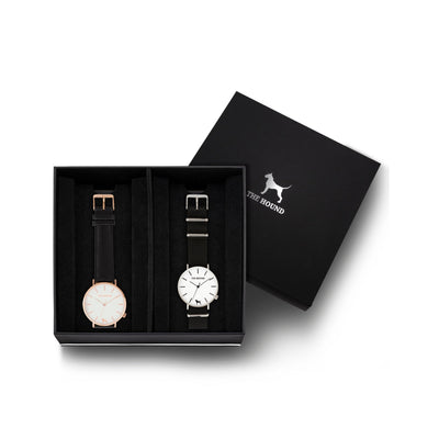 Custom gift set - Rose gold and white watch with stitched black genuine leather band and a silver and white watch with black nato leather band
