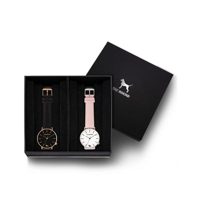 Custom gift set - Rose gold and black watch with stitched black genuine leather band and a silver and white watch with stitched blush pink genuine leather band