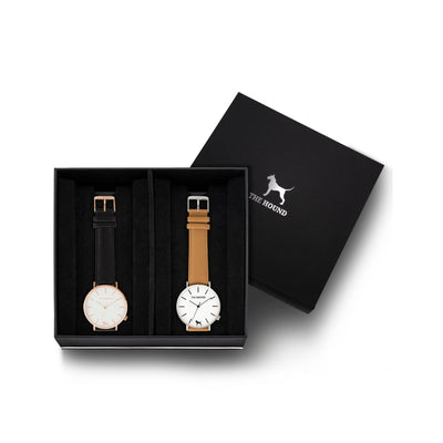 Custom gift set - Rose gold and white watch with stitched black genuine leather band and a silver and white watch with stitched camel genuine leather band