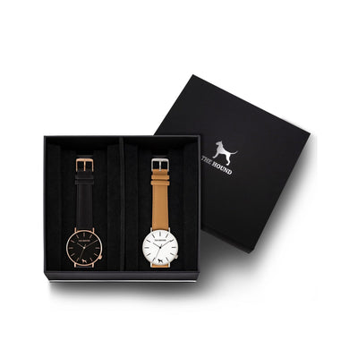 Custom gift set - Rose gold and black watch with stitched black genuine leather band and a silver and white watch with stitched camel genuine leather band