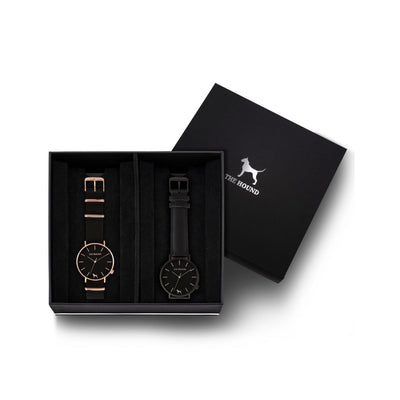 Custom gift set - Rose gold and black watch with black nato band and a matte black and black watch with stitched black genuine leather band