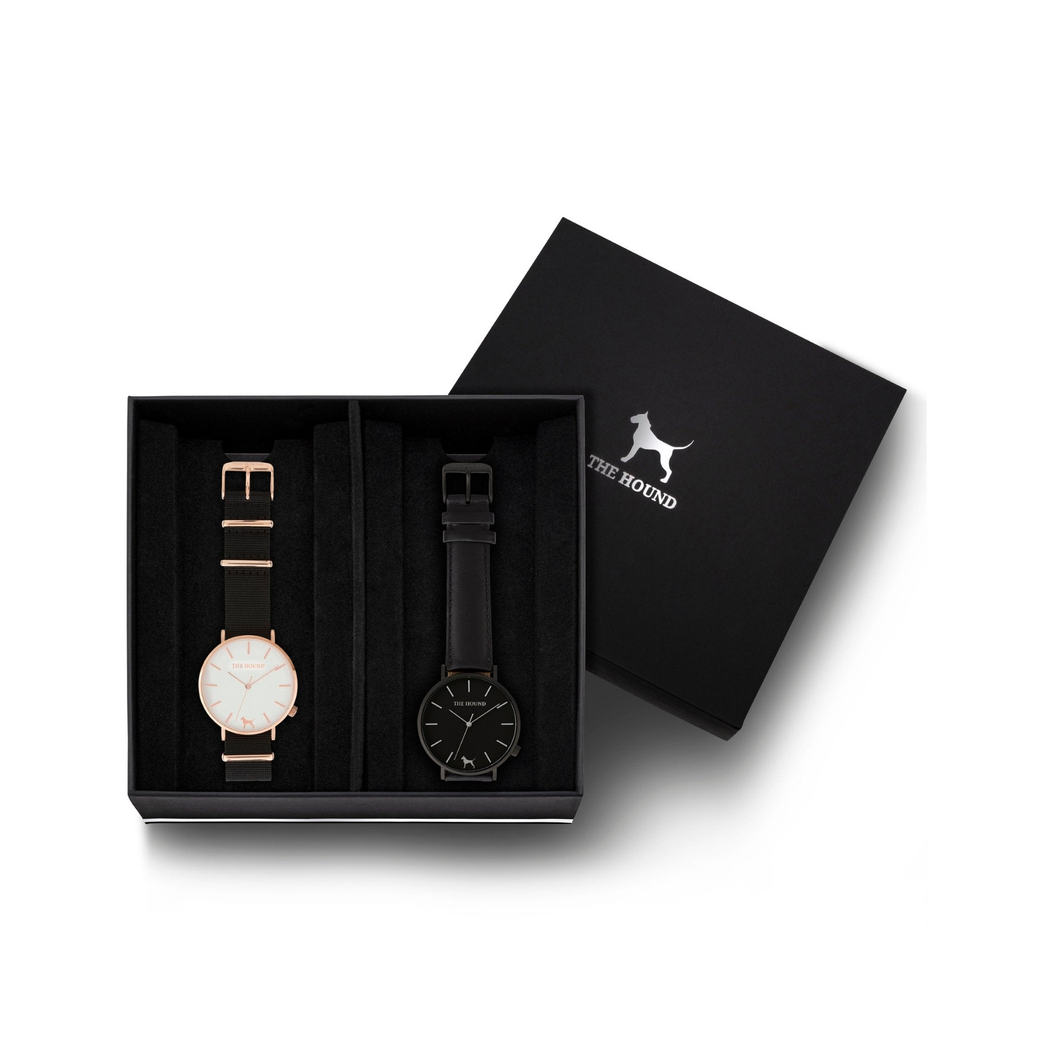 Custom gift set - Rose gold and white watch with black nato band and a matte black and black watch with stitched black genuine leather band