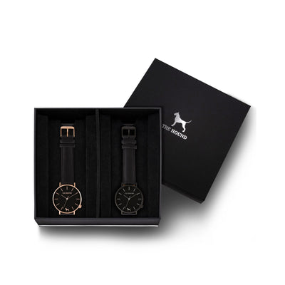 Custom gift set - Rose gold and black watch with stitched black genuine leather band and a matte black and black watch with stitched black genuine leather band