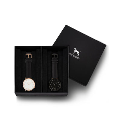 Custom gift set - Rose gold and white watch with stitched black genuine leather band and a matte black and black watch with stitched black genuine leather band