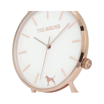 Rose gold and white watch face and crown designed by THE HOUND.