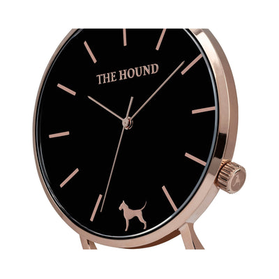 Rose gold and black watch face and crown designed by THE HOUND.