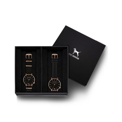 Custom gift set - Rose gold and black watch with black nato band and a rose gold and black watch with stitched black genuine leather band