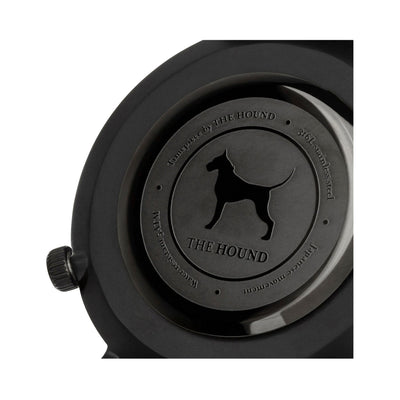 Matte black and black watch caseback designed by THE HOUND.