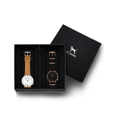 Custom gift set - Silver and white watch with stitched camel genuine leather band and a rose gold and black watch with black nato leather band