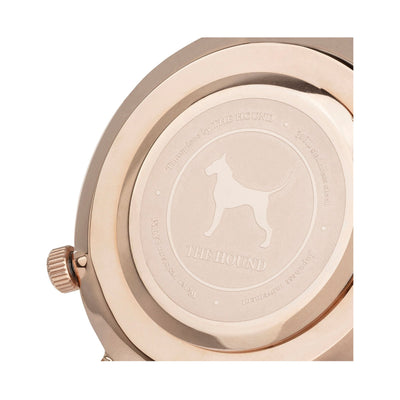 Rose gold and black watch caseback designed by THE HOUND.