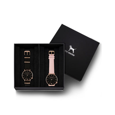 Custom gift set - Rose gold and black watch with black nato band and a rose gold and black watch with stitched blush pink genuine leather band