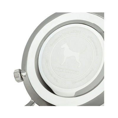 Silver and white black watch caseback designed by THE HOUND.
