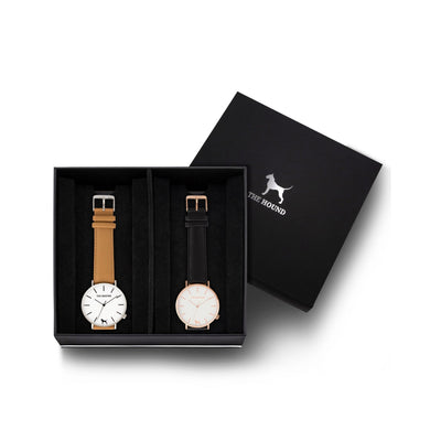 Custom gift set - Silver and white watch with stitched camel genuine leather band and a rose gold and white watch with stitched black genuine leather band