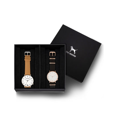Custom gift set - Silver and white watch with stitched camel genuine leather band and a rose gold and white watch with black nato leather band