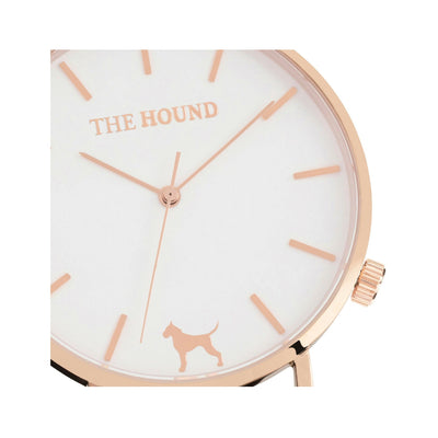 Rose gold and white watch face designed by THE HOUND.