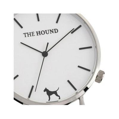 Silver and white watch face designed by THE HOUND.