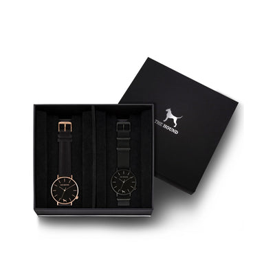 Custom gift set - Rose gold and black watch with stitched black genuine leather band and a matte black and black watch with black nato leather band