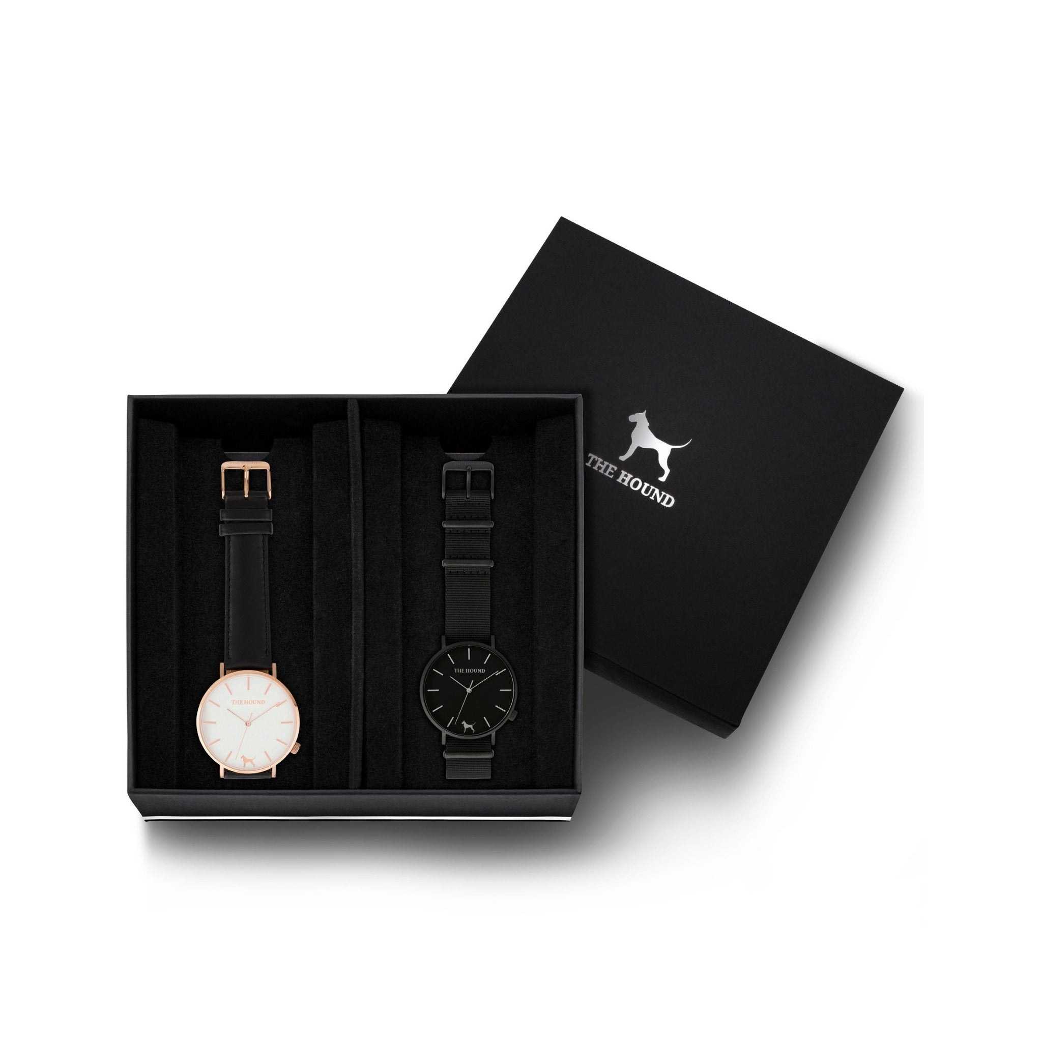 Custom gift set - Rose gold and white watch with stitched black genuine leather band and a matte black and black watch with black nato leather band
