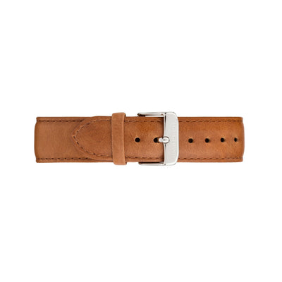 Silver & White Watch<br>+ Camel Leather Band<br>+ Tan Leather Band