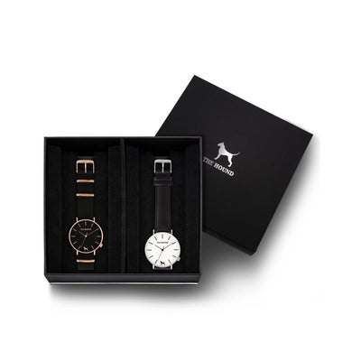Custom gift set - Rose gold and black watch with black nato band and a silver and white watch with stitched black genuine leather band