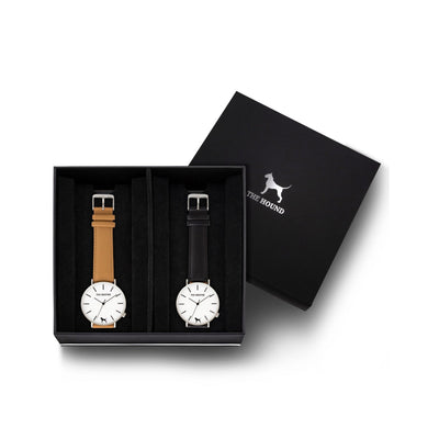 Custom gift set - Silver and white watch with stitched camel genuine leather band and a silver and white watch with stitched black genuine leather band