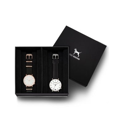 Custom gift set - Rose gold and white watch with black nato band and a silver and white watch with stitched black genuine leather band