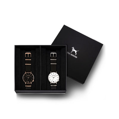 Custom gift set - Rose gold and black watch with black nato band and a silver and white watch with black nato leather band