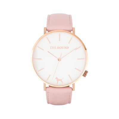 White Rose Watch<br>+ Blush Pink Leather Band<br>+ Black Nato Band