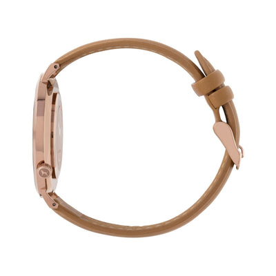 Rose gold and white watch with a stitched camel genuine leather band and rose gold black buckle designed by THE HOUND, styled done up and shot from a side on angle.