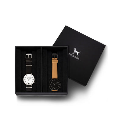 Custom gift set - Silver and white watch with black nato band and a matte black and black watch with stitched camel genuine leather band