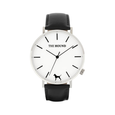 Silver & White Watch<br>+ Black Leather Band<br>+ Tan Leather Band