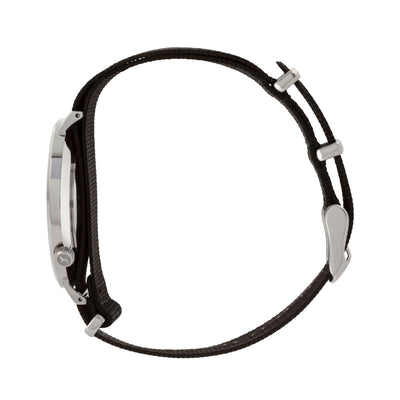 Silver & White Watch<br>+ Black Nato Band<br>+ Black Leather Band