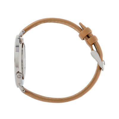 Silver & White Watch<br>+ Camel Leather Band<br>+ Blush Pink Leather Band