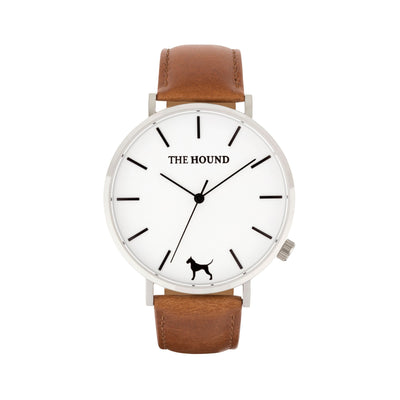 Silver & White Watch<br>+ Tan Leather Band<br>+ Black Leather Band